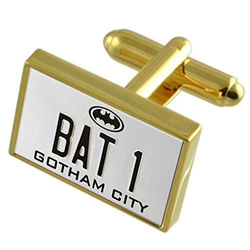 Batman Bat 1 Nummernschild Gold-Manschettenknöpfe schwarze Tasche