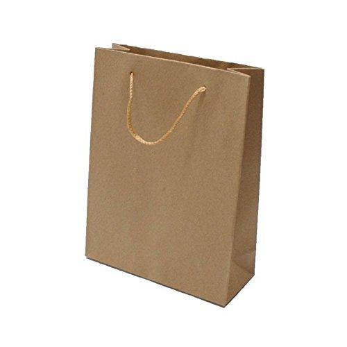 12 sacs cabas kraft de couleur brun naturel unis 19x8x24.5cm - 6566
