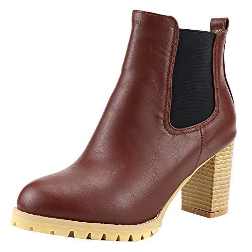 ELEEMEE Damen Mode Blockabsatz Chelsea Stiefel Ohne Verschluss Motorradstiefel Brown Gr 48 Asiatisch