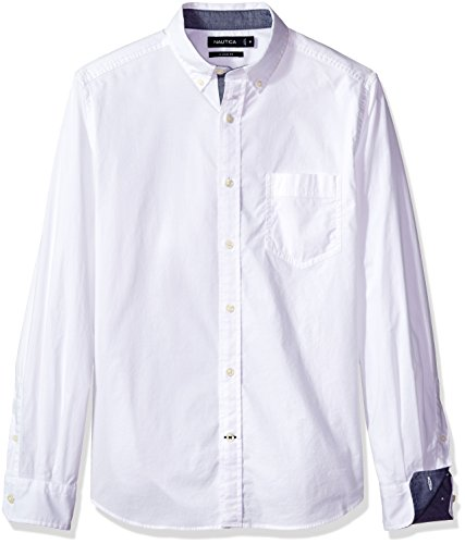 Nautica Men's Classic Fit Stretch Solid Long Sleeve Button Down Shirt, Bright White, XX-Large