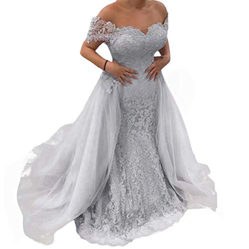 Women's Off Shoulder Prom Dresses Mermaid Lace Applique Long Evening Party Gowns with Detachable Train Silver US18W