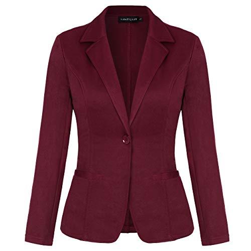 MINTLIMIT Damen Blazer Cardigan Dünn Langarm Elegant Bolero Business Jacke Blazer Slim Fit Anzug Trenchcoat(Weinrot,Größe S)