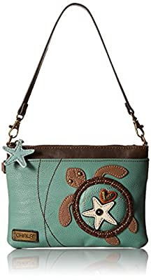 Chala Mini Cross-body Messenger Bag -Women PU Leather Phone Purse with Straps (Teal Sea Turtle)