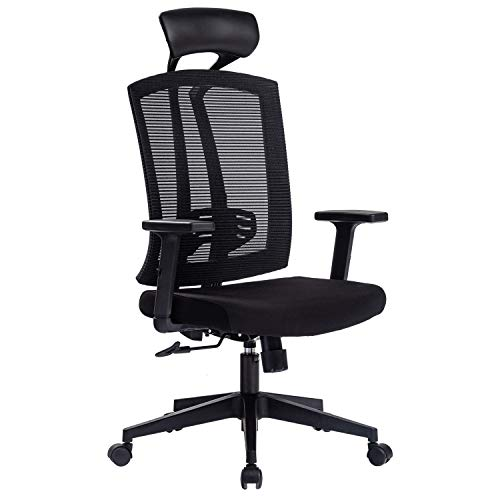 Kasorix Großer und großer Netzstuhl Bequemer Bürostuhl mit Lendenwirbelstütze Billiger Schreibtischstuhl mit atmungsaktivem Netz Spielstuhl mit PU-Kopfstütze(Schwarz-163)