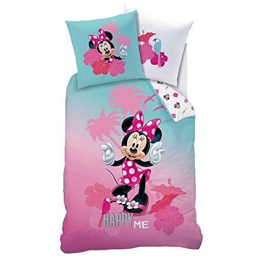 CTI Minnie Mouse Bettwäsche Set ☆ Kinderbettwäsche für Mädchen türkis pink rosa ☆ Disney Minnie Maus Happy ME - 1 Kissenbezug 80x80 + 1 Bettbezug 135x200 cm