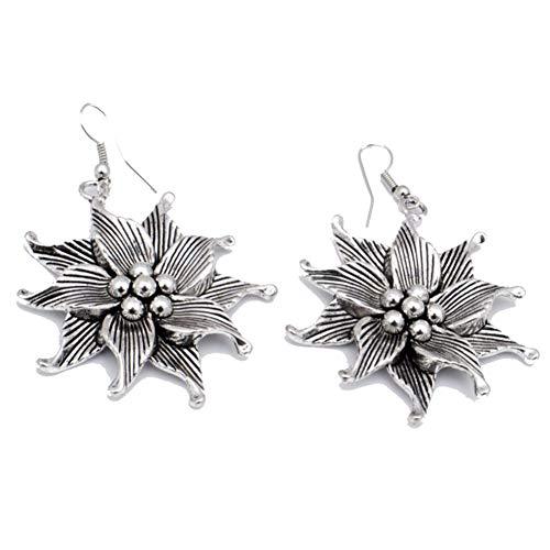 Ancient Stlye! Trendy Fashion Plan EARRING 2' Flower Shape! Oxidized Silver...