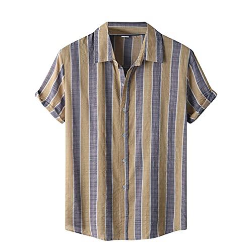 Camisa de manga corta para hombre, de verano, con solapas, con estampado de flores, para el tiempo libre, para la playa I_Khaki. XXL