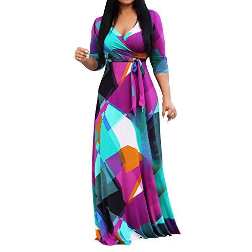 Bandage Split Loose Dress Fashion Women Plus Size Print V-Neck Long Sleeve Dress Purple