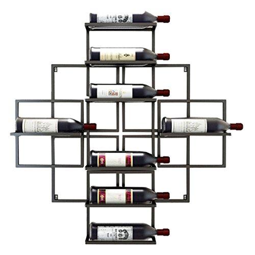 Etagère à bouteille Porte-bouteilles mural accrochant porte-bouteille de vin en métal fer vin étagères de rangement Style Vintage Creative Bar - détient 8 bouteilles de vin - noir,80cm