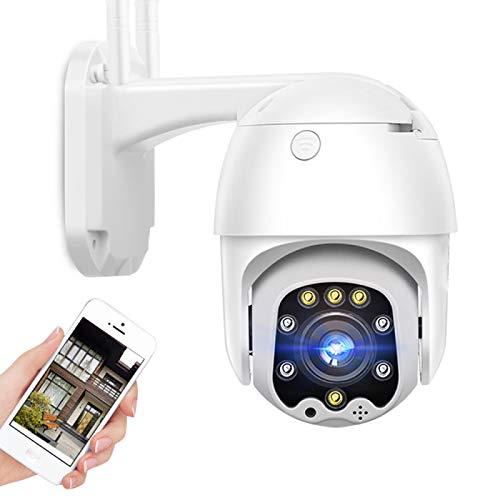 AINSS Cámara de vigilancia WiFi Exterior,Cámara de Seguridad IP CCTV PTZ 1080P HD,visión Nocturna,detección de Movimiento,Alarma,Voz bidireccional,para Garaje/Puerta,IP66 Impermeable (Cámara WiFi)