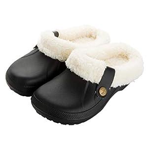 SMajong Men's Women's Waterproof Slippers Winter Lined Clogs Fur Garden Shoes Warm Plush Home House Slippers Indoor Outdoor Mules Black
