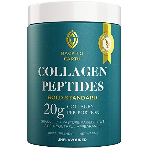 Back To Earth Hydrolysed Collagen Peptide Protein Powder | Supplement for Hair Skin Nail Health, Beauty Growth | Unflavoured Peptides Super Absorption | Grass Fed Bovine Drink Supplements Made in UK