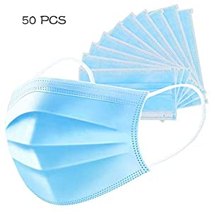 LIHIRONER 50Pcs Disposable 3-Ply Anti Dust Face Masks with Earloops, Blue