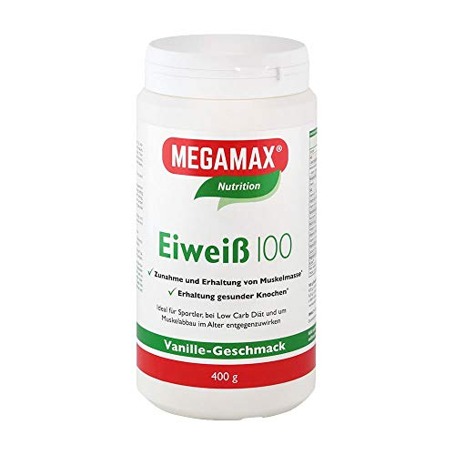Megamax Eiweiss Vanille 400 Molkenprotein + Milcheiweiß Eiweiß Protein mit Biologischer Wertigkeit ca. 100Für Muskelaufbau und Diaet 400 g | ohne Süßstoff | PROTEINPULVER ideal zum Backen | Low Carb Eiweiß-Shake für Muskelaufbau und Fitness