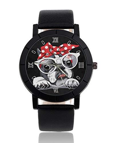 Bulldog francés personalizado reloj casual negro correa de cuero reloj de pulsera para hombres mujeres unisex relojes