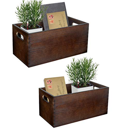 Set of 2 Wood Mail Organizer for Countertop Rustic Mail Holder Desktop Farmhouse Decor Wood Bill Organizer Mail Storage Box for Counter Mail Sorter Organizer, Dark Brown (with 2 Artificial Flower)