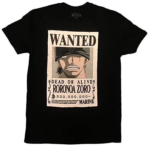 One Piece Roronoa Zoro Bounty T-Shirt - Officially Licensed (Large) Black