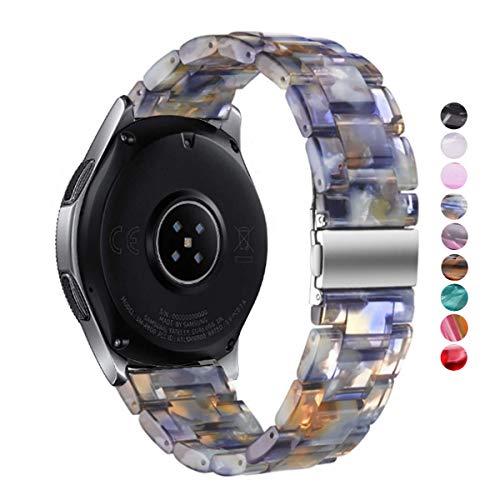DEALELE Bandes Compatible pour Samsung Gear S3 Frontier/Classic/Galaxy Watch 46mm, Bracelet de Remplacement 22mm Résine Métal, Ice Blue