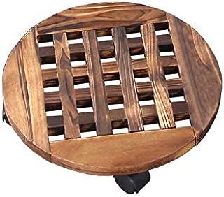 Wilk Soporte Duradero Uesful Appliance florero de Bote de Madera Planta Caddy con la Rueda del balanceo del Rodillo en Movimiento de la Bandeja
