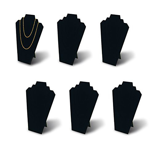 7TH VELVET 6pcs/ Pack 12.5inches Black Velvet Necklace Easel Jewelry Organizer Displays Stand with Reinforced Bracket