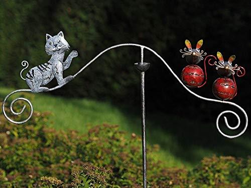 Thermobrass Windspiel XXL Wippe Gartendeko Gartenstecker Figur Außendeko Gartenfigur Katze Mäuse aus Metall - Handarbeit - 135 x 65 x 11 cm