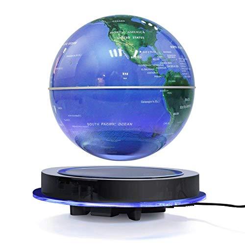 zjchao 6'' Globe Terrestre Magnétique Lévitation Flottant Rotation Carte du Monde Anti Gravité avec LED Lumière Cristal Platforme Décoration de la Maison Chambre Bureau Cadeau de Fête Jouet Educatif