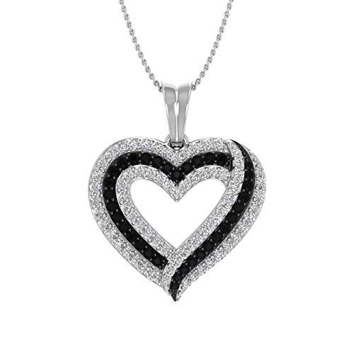 1/2 Carat Black & White Diamond Heart Pendant Necklace in 10K White Gold (Included Silver Chain)