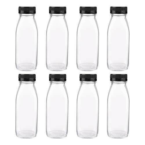 Scicalife 8 Unidades de Botellas de Jugo de Vidrio de 300ML Reutilizables Botellas de Bebidas Transparentes de Viaje Contenedor de Botellas de Leche Rellenables para Bebidas de Té Yogurt