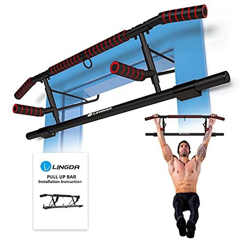 Klimmzugstange Türreck–für Türrahmen ohne Schrauben–Training zu Hause bis[200kg]–20cm höher im Türrahmen für mehr Bewegungsfreiheit–Sicherer Halt–Fitnessstange mit Schaumstoff,Mit Boxsack Halterung