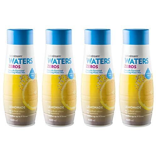 SodaStream Zeros Jarabe de limonada, paquete de 4 mezclas espumosas de sabor natural, sin aspartamo, cero calorías, 4 x 440 ml