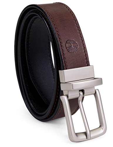Timberland Men's Classic Leather Belt Reversible From Brown To Black, Brown/black, 40
