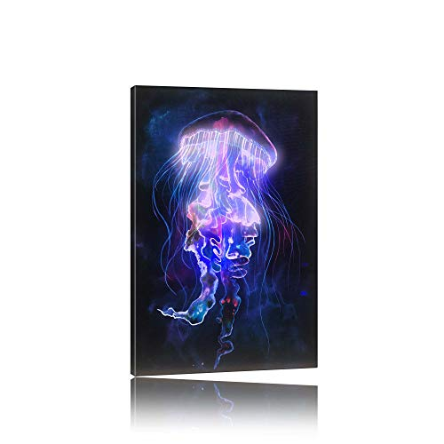Wall Art Canvas LED Painting Poster with Bluetooth Music and Remote Keypad Control Marine, Jellyfish Picture Modern Print for Home Decor Bedroom Living Room Colorful Colors 7+