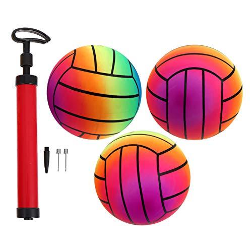 BESPORTBLE Regenbogen Volleyball Kinder Aufblasbare PVC Kickball Sport Spielball mit 1 Pumpe für Sportliche Aktivitäten Strand Garten Indoor Outdoor 1 Set/ 4 Stück ( Bunt )