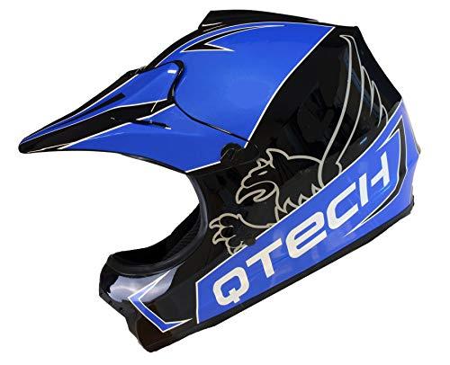 Casco Motocross per Bambino Moto Cross Enduro ATV MX BMX Quad Nero Lucidare - Blu - S (53-54cm)