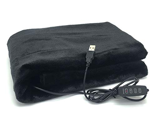 S'Beauty USB Electric Heating Blanket Heated Shawl 3 Heating Settings H/149°F-5V/2A for Office Study Sitting Room Library Coffee Shop Plane and More (Black)