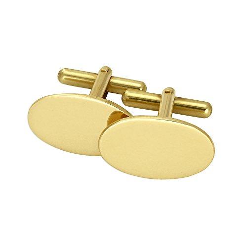 Boutons de Manchette Ovales en Or Jaune 9 Carats - Tête Pivotante