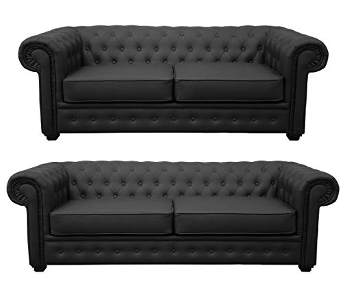 Chesterfield Style Venus Sofa 3 Seater 2 Seater Armchair Black Faux Leather (3+2 Seater)