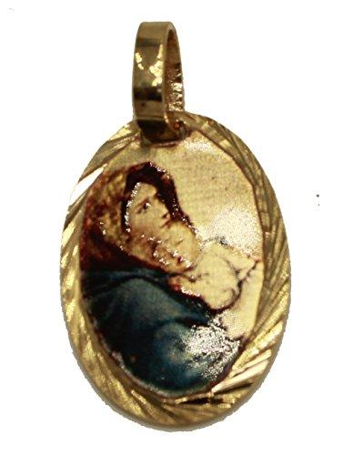Medalla de la Virgen María de Florida Madonna de Las Calles chapada en Oro de 14 K con Cadena de 45,7 cm con Medalla de bebé