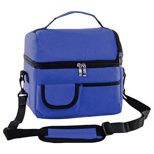 Shiwen Caja de maquillaje Bolsa de almuerzo para mujeres, niños, hombres, multifunción, comida, picnic, refrigerador, bolsas aisladas, contenedor de almacenamiento (color azul real)