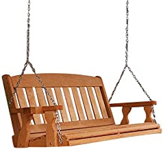 Amish Heavy Duty 800 Lb Mission 4ft. Treated Porch Swing With Cupholders - Cedar Stain