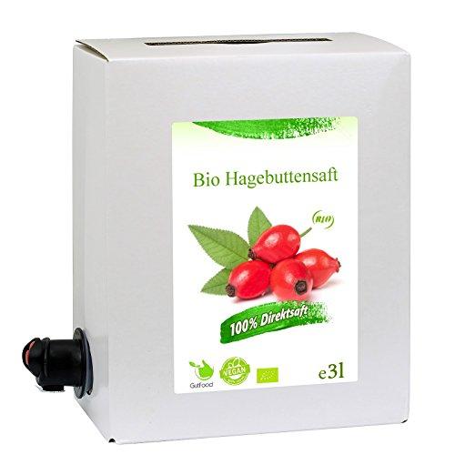 GutFood - 3 Liter Bio Hagebuttensaft - Bio Hagebutte Saft in praktischer Bag in Box Packung ( 1 x 3 l Saftbox ) - Muttersaft aus Bio Hagbutten Erstpressung in Spitzenqualität aus ökologischem Landbau