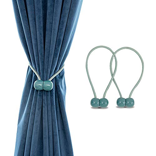Emoly Magnetic Curtain Rope Tiebacks, Classic European Window Curtain Holders with Magnets for Blackout Curtain, Sheer Panels Draperies (Jade Green, 2020)