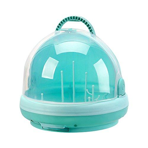 Tragbares Babyflaschen-Abtropfgestell mit Anti-Staub-Abdeckung, groß, rund, Baby-Geschirr, Stillflasche, Aufbewahrungsbox, Grün