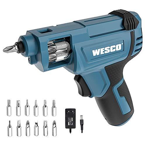 WESCO 3.6V Mini Akkuschrauber,Akkuschrauber klein,1500mAh Li-Ion Akku mit Schnellwechselkartusche und 12 Schrauber-Bits,mit USB-Ladekabel und LED-Licht