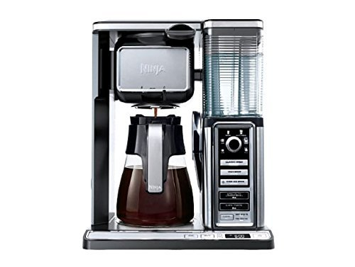 Ninja CF090CO Coffee Bar w/Glass Carafe and Auto-iQ One Touch Intelligence, 19.5 x 10.75 x 16.75, Chrome/Black