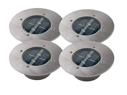4er SET moderner Solar LED Bodeneinbaustrahler rund in Edelstahl/Glas für Außenbereich