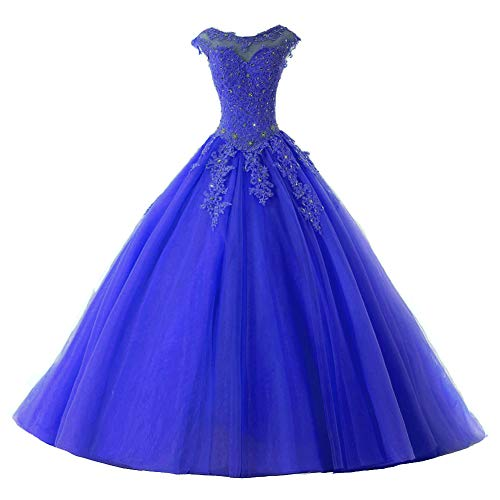 Ball Gown Quinceanera Dresses Tulle Long Prom Party Gowns Sweet 16 Formal Dress Royal Blue US 12
