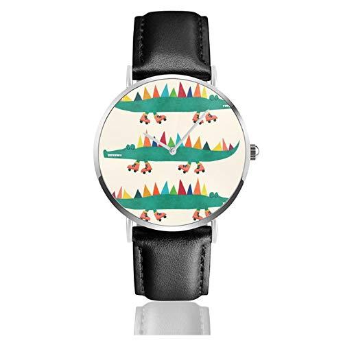 Armbanduhr mit Krokodil auf Rollschuhen, Quarzuhrwerk, wasserdicht, Lederarmband, für Herren und Damen, einfache Business- und Freizeituhr