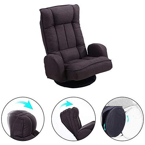 Chair Ajustable giratoria Lazy Sofá Sillón Suelo de vídeo de Gran tamaño Presidente Juego de 360 Grados giratoria Plegable de 6 Posiciones Silla Suelo Apoyabrazos
