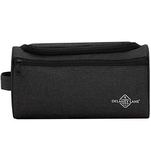 DELANEY LANE Toiletry Bag with Side Handle and Hanging Hook – Makeup Organizer – Toothbrush Case - for Gym, Travel, Luggage, Shower, Vacation – Universal for Men and Woman - The Globetrotter (Black)